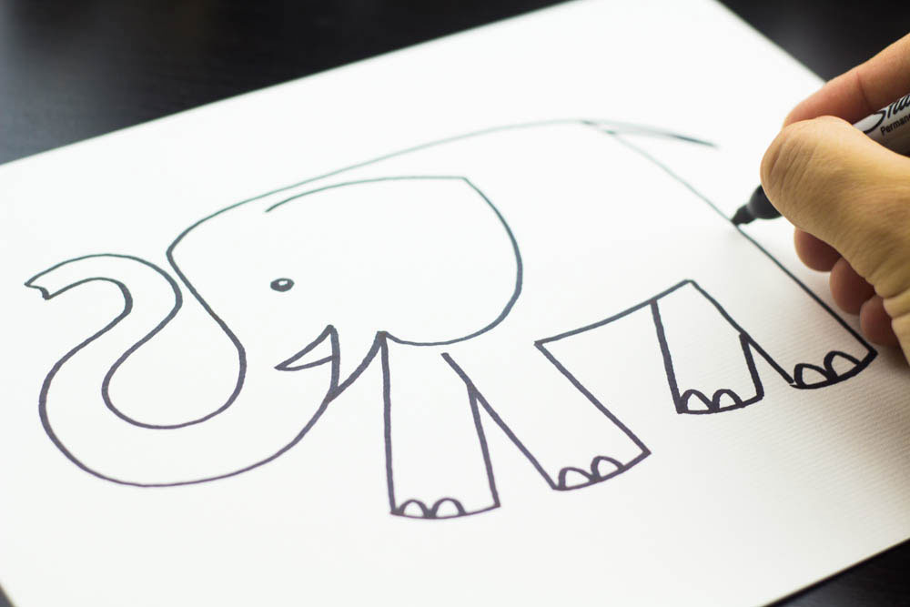 How to draw an elephant kids bedroom idea for Fun and easy pictures to draw